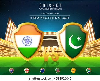 Cricket Match Participating Countries Flag Shields with India Vs Pakistan highlighted on shining Stadium background.