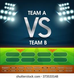 Cricket Match Schedule between Team A VS Team B on night stadium lights background.