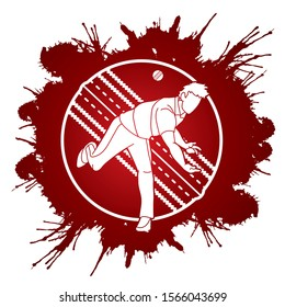 Cricket player action cartoon sport graphic vector.