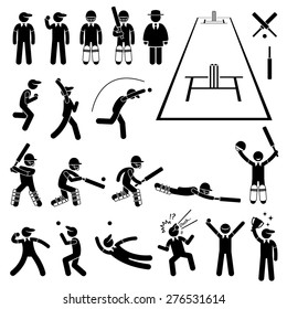 Cricket Player Actions Poses Stick Figure Pictogram Icons