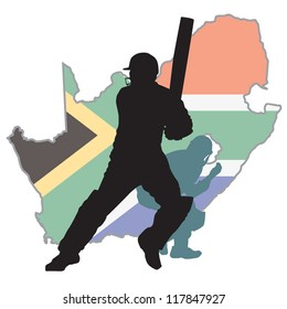 Cricket player at background South Africa  map