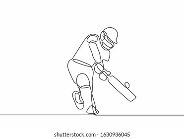 Cricket player batter going to hit the ball. one line drawing. minimalism vector illustration. sport theme design isolated on white background.