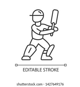Cricket player linear icon. Batsman ready to fight off pitch. Cricketer in uniform, leg pads with bat. Thin line illustration. Contour symbol. Vector isolated outline drawing. Editable stroke