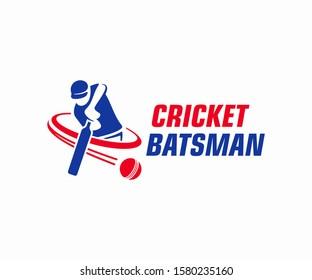 Cricket player logo design. Cricket batting vector design. Batsman logotype