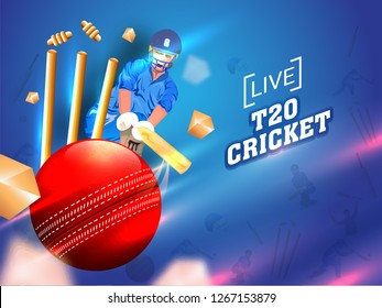 Cricket player in playing action with close view of ball and wicket stumps on glossy blue background. T20 Cricket poster or banner design.