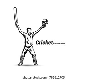 Cricket player playing cricket, bat and wicket, uniform, cap, vector illustration