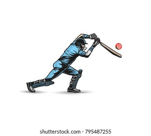 Cricket player playing cricket, bat and wicket, uniform, helmet, vector illustration