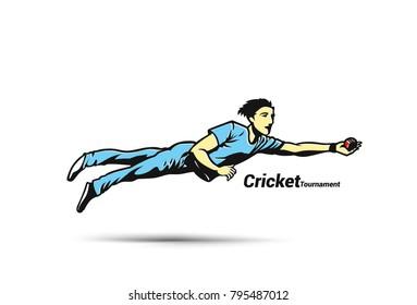 Cricket player playing cricket, tournament, ball, uniform, vector illustration