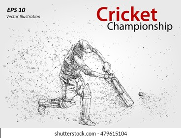 Cricket player silhouette, particles. Cricket championship. Illustration of batsman playing cricket - stock vector