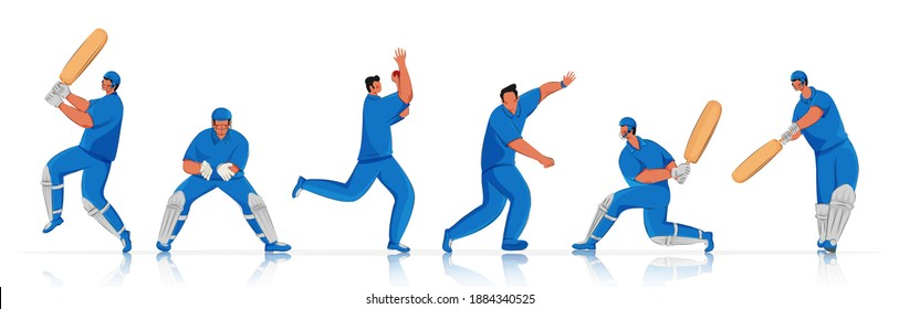 Cricket Player Team in Different Action Poses.