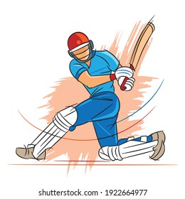 cricket players playing cricket vector illustration