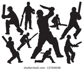 cricket players silhouette