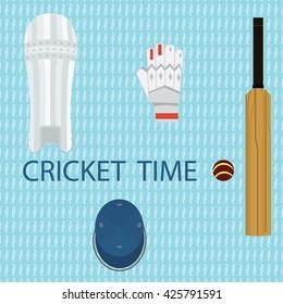 Cricket set vector.