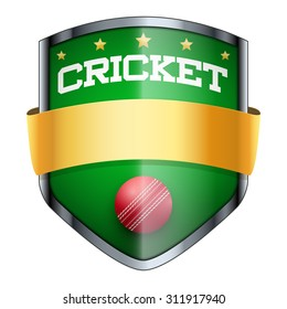 Cricket Shield badge. The symbol of the sports club or team. Vector Illustration isolated on white background.