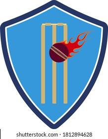 Cricket Shield Emblem Icon. Flat Color Design. Vector Illustration.
