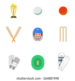 Cricket sport game icons set with protective leg guard and helmet and trophy abstract isolated vector illustration