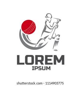 Cricket sport vector logo design template