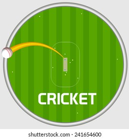 Cricket sports concept with view of sixer shot on stadium background.
