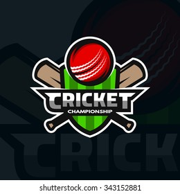 Cricket sports label, badge, emblem. The ball and bats on the background of the shield.