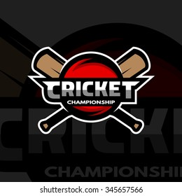 Cricket sports label, badge, emblem. The ball and bat. Dark background.