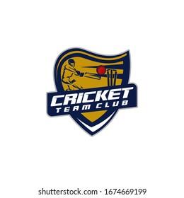 Cricket Sports Team Club Logo Design Template Vector