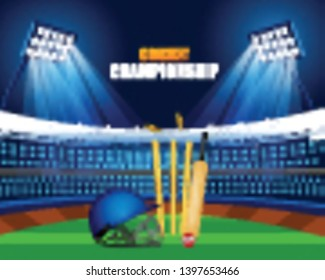 Cricket stadium background vector illustration of Sports background for the match of Cricket Championship Tournament - Vector