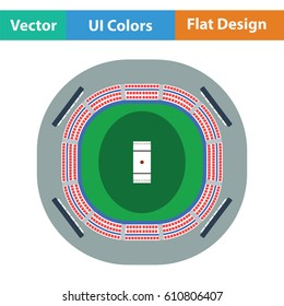 Cricket stadium icon. Flat design. Vector illustration.