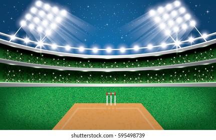 Cricket Stadium with Neon Lights. Arena. Vector Illustration.