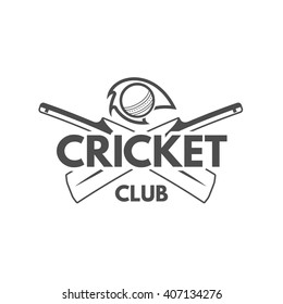 Cricket team emblem and design elements. championship logo design. club badge. Sports symbols with cricketer gear, equipment. Use for web or tee shirt design or print them.