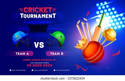 Cricket Tournament banner design with cricket equipment, winner crown, champion trophy and cricket attire helmet of participants teams India and Pakistan.