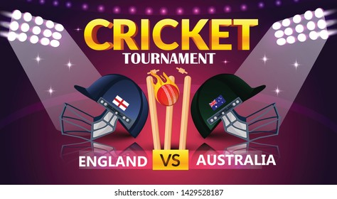 cricket tournament, England v/s Australia cricket match banner, cricket attire helmets of respective country and ball on purple colour background. - Vector