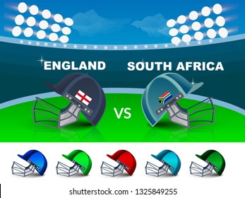 cricket tournament, England v/s South Africa cricket match banner, cricket attire helmets of respective country and ball on purple colour background. - Vector