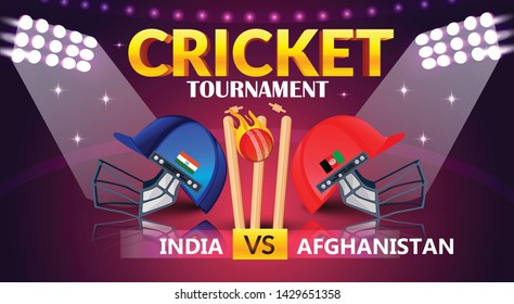 cricket tournament, India v/s Afghanistan cricket match banner, cricket attire helmets of respective country and ball on purple colour background. - Vector