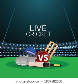 Cricket tournament match concept with stadium and cricket equipment