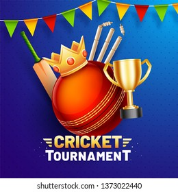 Cricket Tournament poster or template design with illustration of cricket elements and winner crown on blue background.