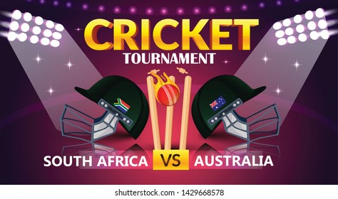 cricket tournament, South Africa v/s Australia cricket match banner, cricket attire helmets of respective country and ball on purple colour background. - Vector