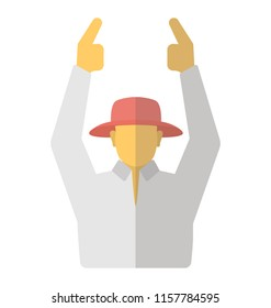Cricket umpire with hands in the air signalling six runs during match