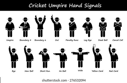 Cricket Umpire Referee Hand Signals Stick Figure Pictogram Icons