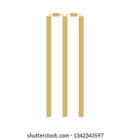 Cricket wicket icon. Flat color stencil design. Vector illustration.