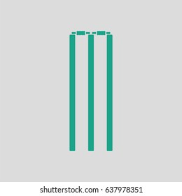Cricket wicket icon. Gray background with green. Vector illustration.