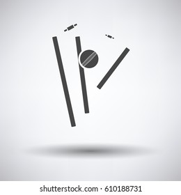 Cricket wicket icon on gray background, round shadow. Vector illustration.