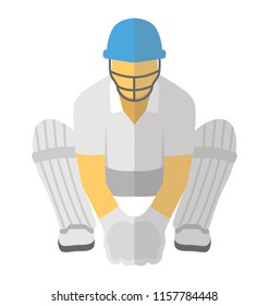 A cricket wicket keeper wearing cricket helmet and kneepads crouching