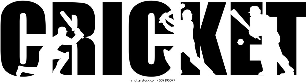 Cricket word with silhouette cutouts