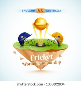 Cricket World Championship template or poster design with vector illustration of champion trophy and cricket attire helmet of competitive teams England and Australia.