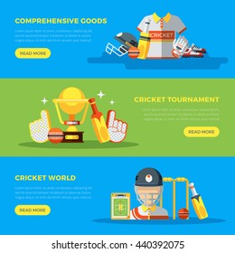 Cricket world and tournament banners with goods and apparel for players flat vector illustration