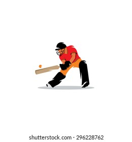 Cricketer. Cricket player hit the ball sign. Vector Illustration. Branding Identity Corporate logo design template Isolated on a white background