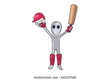 Cricketer with hands raised up helmet in one hand and bat in another hand. Vector Illustration. Isolated on white background.