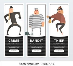 Crime, bandit, thief, criminal and convict banners cartoon vector elements for website or mobile app