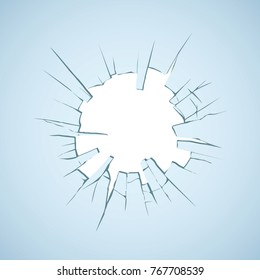 Crime bust circle break blue crystal pane isolated on white backdrop. Tender grey color hand drawn disrepair banner logo emblem sketch in art doodle graphic style. Closeup view with copyspace for text