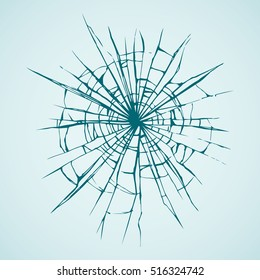 Crime busted circle break blue crystal pane isolated on white backdrop. Freehand outline ink hand drawn picture sketchy in art doodle retro graphic style pen on paper. Closeup view with space for text